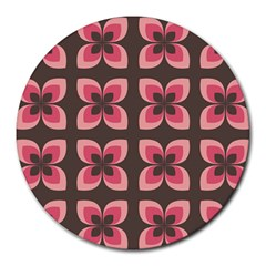 Floral Retro Abstract Flowers Round Mousepads by Celenk