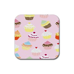 Cupcakes Wallpaper Paper Background Rubber Square Coaster (4 Pack)