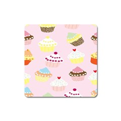 Cupcakes Wallpaper Paper Background Square Magnet