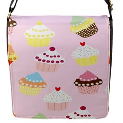 Cupcakes Wallpaper Paper Background Flap Messenger Bag (s) by Celenk
