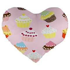 Cupcakes Wallpaper Paper Background Large 19  Premium Flano Heart Shape Cushions by Celenk