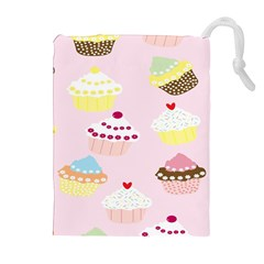 Cupcakes Wallpaper Paper Background Drawstring Pouches (extra Large) by Celenk