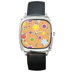 Floral Flowers Retro 1960s 60s Square Metal Watch