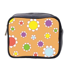 Floral Flowers Retro 1960s 60s Mini Toiletries Bag 2 Side by Celenk