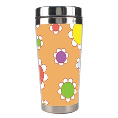 Floral Flowers Retro 1960s 60s Stainless Steel Travel Tumblers by Celenk
