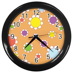Floral Flowers Retro 1960s 60s Wall Clocks (black) by Celenk