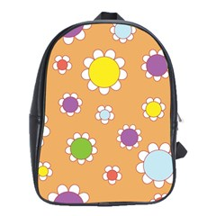 Floral Flowers Retro 1960s 60s School Bag (large)