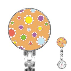 Floral Flowers Retro 1960s 60s Stainless Steel Nurses Watch