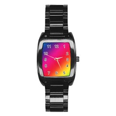 Spectrum Background Rainbow Color Stainless Steel Barrel Watch by Celenk