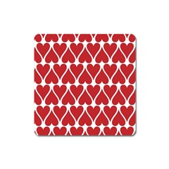 Hearts Pattern Seamless Red Love Square Magnet