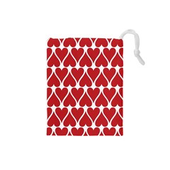 Hearts Pattern Seamless Red Love Drawstring Pouches (small)