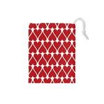 Hearts Pattern Seamless Red Love Drawstring Pouches (Small)  Front