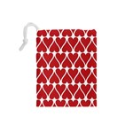 Hearts Pattern Seamless Red Love Drawstring Pouches (Small)  Back