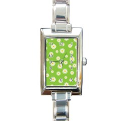 Daisy Flowers Floral Wallpaper Rectangle Italian Charm Watch by Celenk