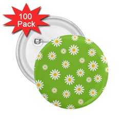 Daisy Flowers Floral Wallpaper 2 25  Buttons (100 Pack)