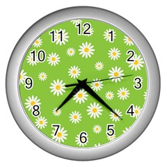 Daisy Flowers Floral Wallpaper Wall Clocks (silver)  by Celenk