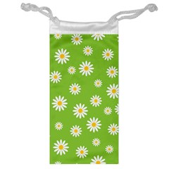 Daisy Flowers Floral Wallpaper Jewelry Bag by Celenk