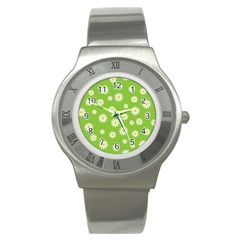 Daisy Flowers Floral Wallpaper Stainless Steel Watch by Celenk