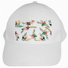 Floral Backdrop Pattern Flower White Cap by Celenk