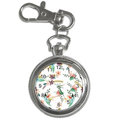 Floral Backdrop Pattern Flower Key Chain Watches