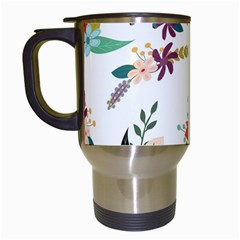 Floral Backdrop Pattern Flower Travel Mugs (white) by Celenk