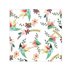 Floral Backdrop Pattern Flower Small Satin Scarf (square)
