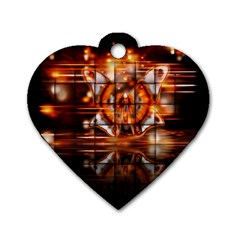 Butterfly Brown Puzzle Background Dog Tag Heart (one Side)