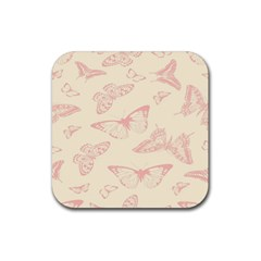 Butterfly Butterflies Vintage Rubber Square Coaster (4 Pack)  by Celenk