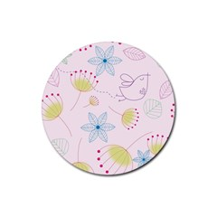 Floral Background Bird Drawing Rubber Round Coaster (4 Pack)  by Celenk