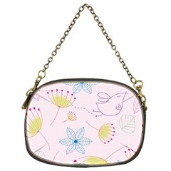 Floral Background Bird Drawing Chain Purses (one Side)  by Celenk
