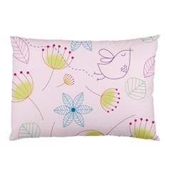 Floral Background Bird Drawing Pillow Case (two Sides)