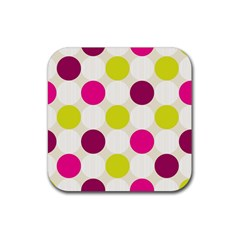 Polka Dots Spots Pattern Seamless Rubber Coaster (square)  by Celenk