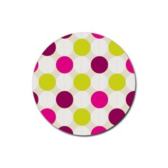 Polka Dots Spots Pattern Seamless Rubber Coaster (round)