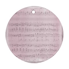 Vintage Pink Music Notes Ornament (round) by Celenk