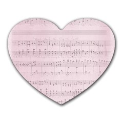 Vintage Pink Music Notes Heart Mousepads by Celenk