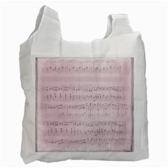 Vintage Pink Music Notes Recycle Bag (two Side)  by Celenk
