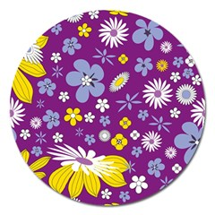 Floral Flowers Wallpaper Paper Magnet 5  (round) by Celenk