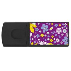 Floral Flowers Wallpaper Paper Rectangular Usb Flash Drive