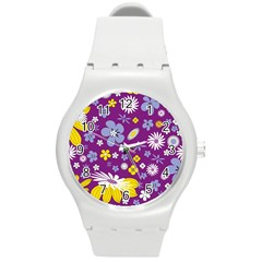 Floral Flowers Wallpaper Paper Round Plastic Sport Watch (m)