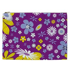 Floral Flowers Wallpaper Paper Cosmetic Bag (xxl)  by Celenk