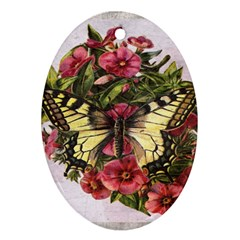 Vintage Butterfly Flower Ornament (oval)