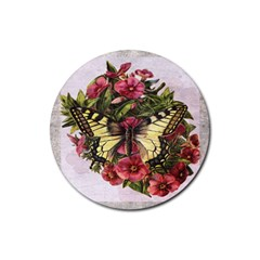 Vintage Butterfly Flower Rubber Coaster (round)