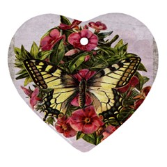 Vintage Butterfly Flower Heart Ornament (two Sides) by Celenk