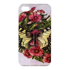 Vintage Butterfly Flower Apple Iphone 4/4s Premium Hardshell Case by Celenk