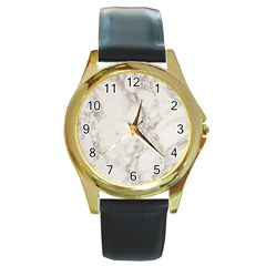 Marble Background Backdrop Round Gold Metal Watch