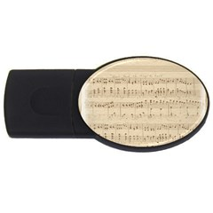 Vintage Beige Music Notes Usb Flash Drive Oval (4 Gb) by Celenk