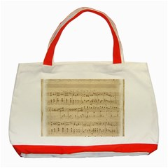 Vintage Beige Music Notes Classic Tote Bag (red) by Celenk