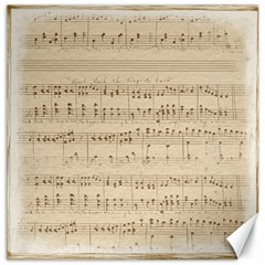 Vintage Beige Music Notes Canvas 16  X 16   by Celenk