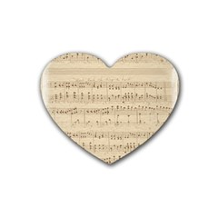 Vintage Beige Music Notes Rubber Coaster (heart)  by Celenk