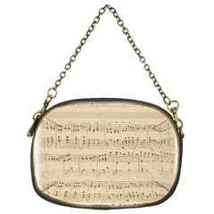 Vintage Beige Music Notes Chain Purses (one Side)  by Celenk